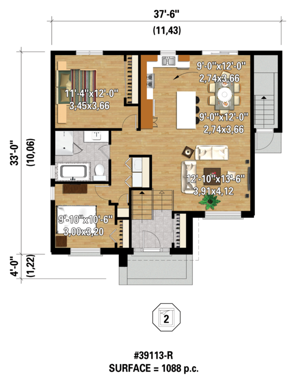 Contemporary Floor Plan - Main Floor Plan Plan #25-4354