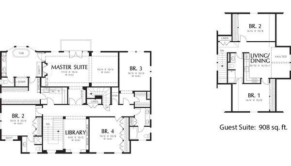 Colonial Floor Plan - Upper Floor Plan Plan #48-663