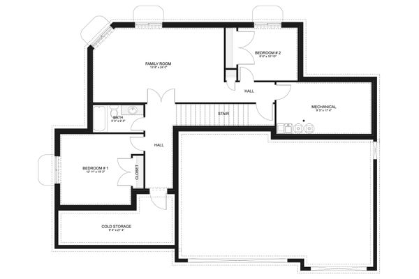 Craftsman Floor Plan - Lower Floor Plan #1060-65