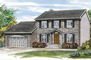 Colonial Exterior - Front Elevation Plan #47-130