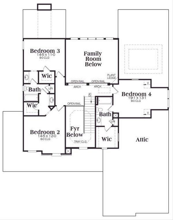 Traditional Floor Plan - Upper Floor Plan Plan #419-171