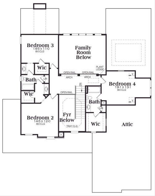 Traditional Floor Plan - Upper Floor Plan Plan #419-171