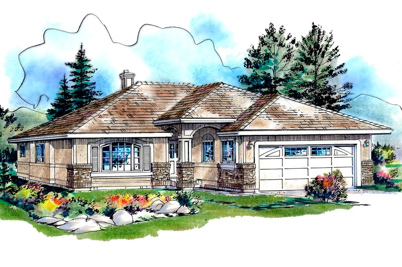 House Blueprint - Traditional Exterior - Front Elevation Plan #18-1026