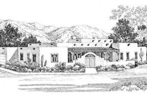 Adobe / Southwestern Exterior - Front Elevation Plan #72-141