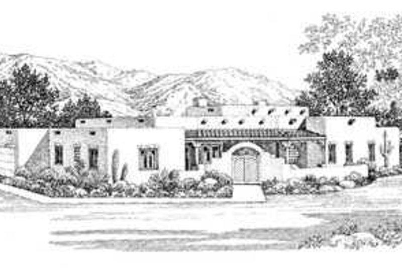 House Blueprint - Adobe / Southwestern Exterior - Front Elevation Plan #72-141