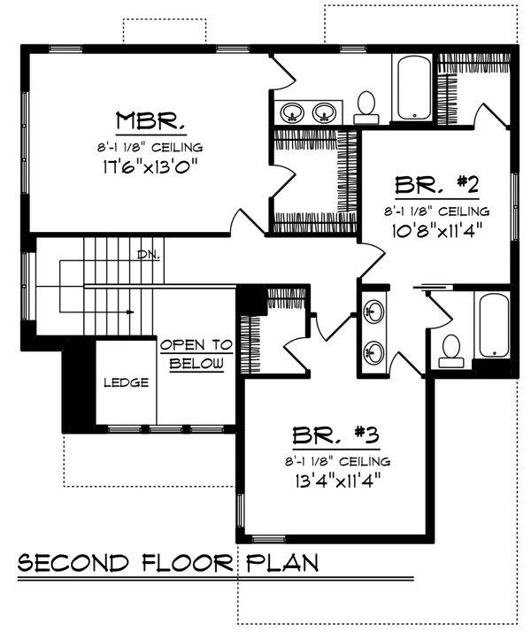 Craftsman Floor Plan - Upper Floor Plan Plan #70-1210