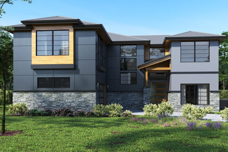 Contemporary Style House Plan - 4 Beds 3 Baths 3133 Sq/Ft Plan #1066-49 Exterior - Front Elevation