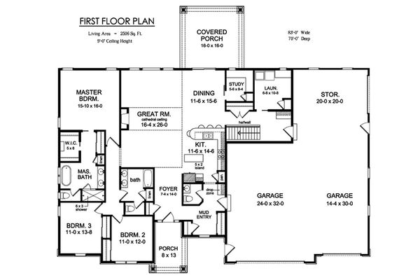 Ranch Floor Plan - Main Floor Plan Plan #1010-225