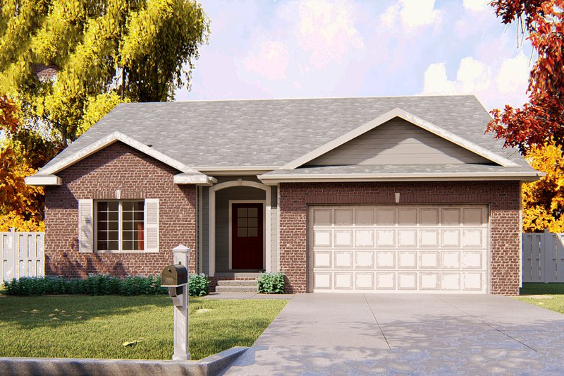 Ranch Exterior - Front Elevation Plan #455-225