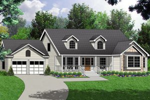 Country Exterior - Front Elevation Plan #40-120