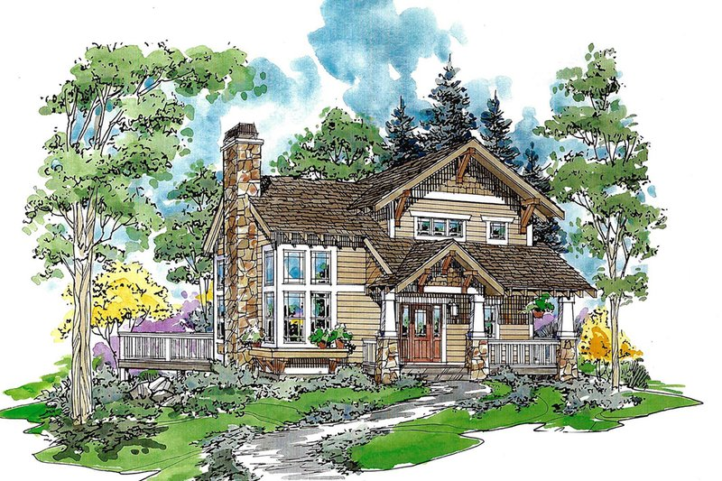 Craftsman Exterior - Front Elevation Plan #970-2