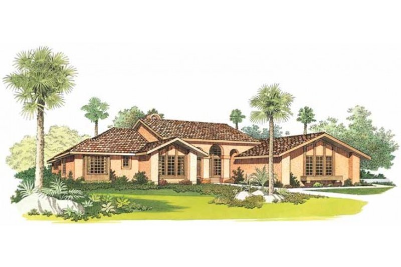 Adobe / Southwestern Exterior - Front Elevation Plan #72-210