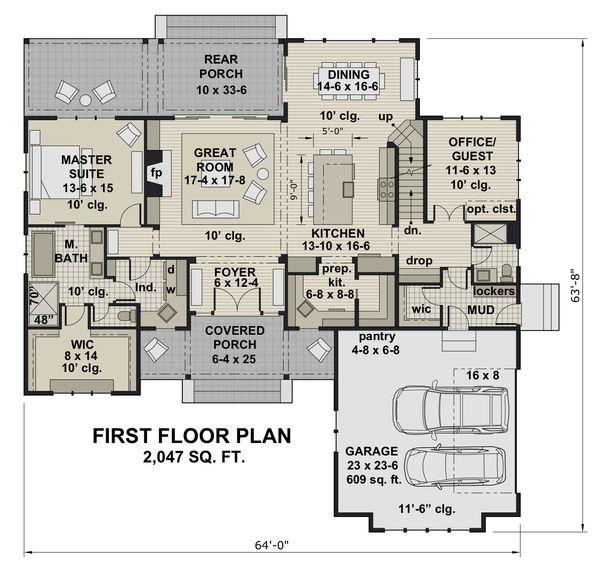 Farmhouse Floor Plan - Main Floor Plan Plan #51-1156