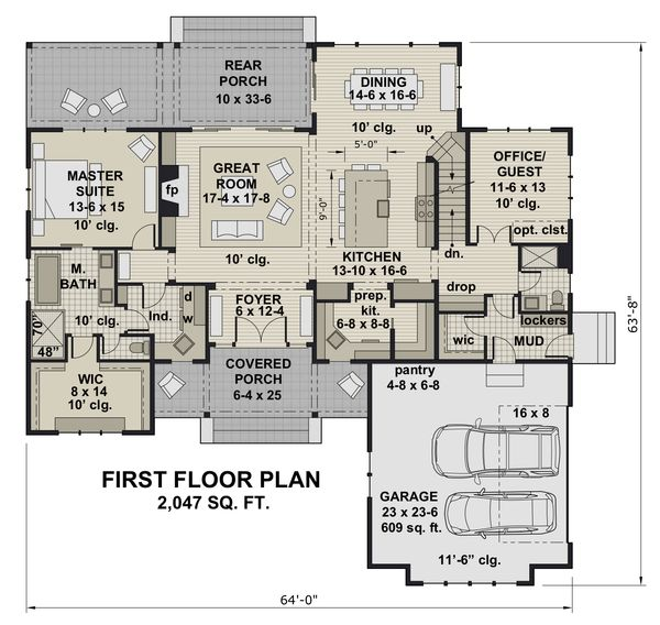 Farmhouse Floor Plan - Main Floor Plan #51-1156