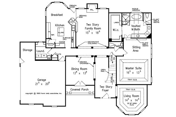 Traditional Style House Plan - 4 Beds 3.5 Baths 2940 Sq/Ft Plan #927-29 Floor Plan - Main Floor Plan