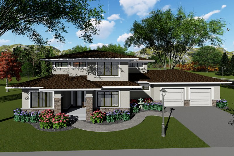 Modern Style House Plan - 4 Beds 3 Baths 3187 Sq/Ft Plan #70-1431 Exterior - Front Elevation