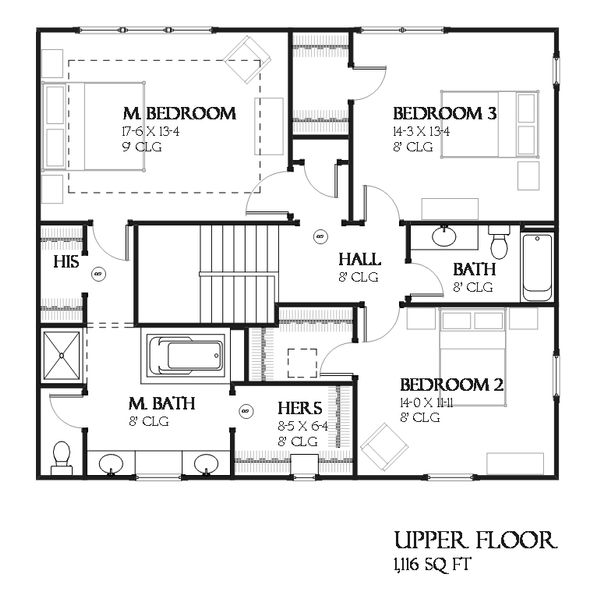 Craftsman Floor Plan - Upper Floor Plan Plan #901-123