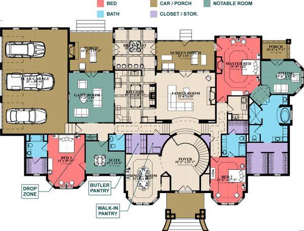 Home Plan - Colonial Floor Plan - Main Floor Plan #63-426