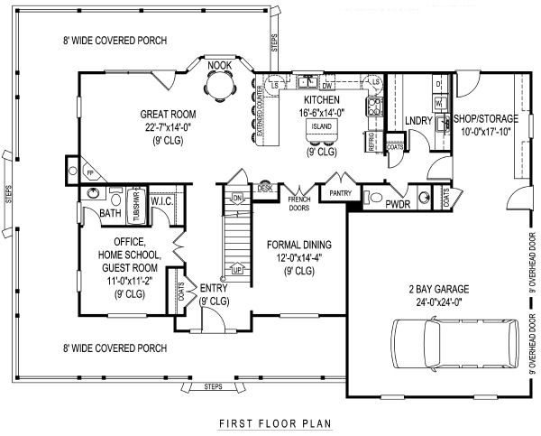 Farmhouse Floor Plan - Main Floor Plan Plan #11-218