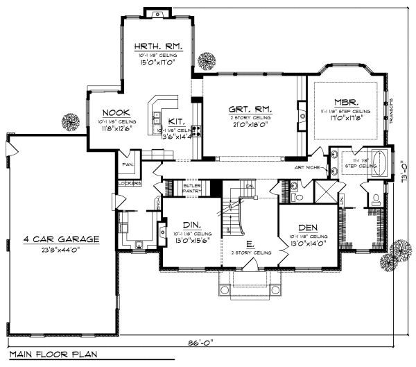 Traditional Floor Plan - Main Floor Plan Plan #70-886