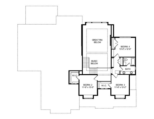 Craftsman Floor Plan - Upper Floor Plan Plan #920-102