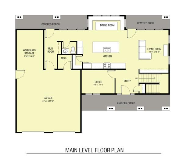Architectural House Design - Farmhouse Floor Plan - Main Floor Plan #1068-3