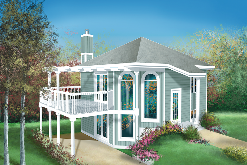 Cottage Style House Plan - 1 Beds 2 Baths 1062 Sq/Ft Plan #25-1118 Exterior - Front Elevation