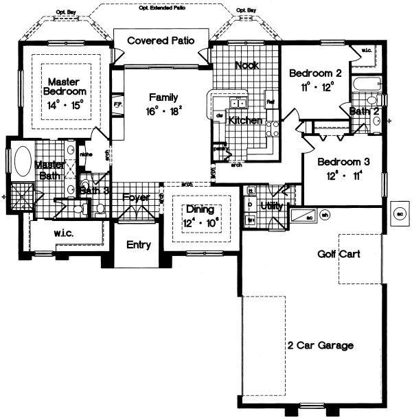 Mediterranean Floor Plan - Main Floor Plan Plan #417-158