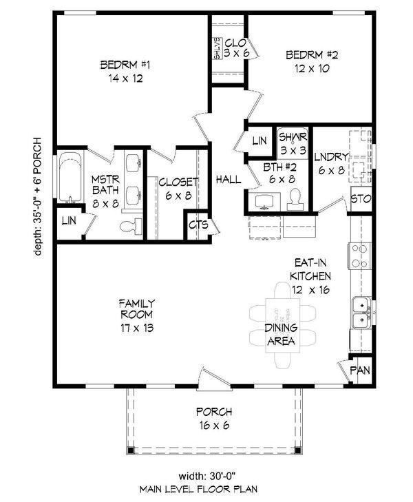 Traditional Floor Plan - Main Floor Plan Plan #932-108