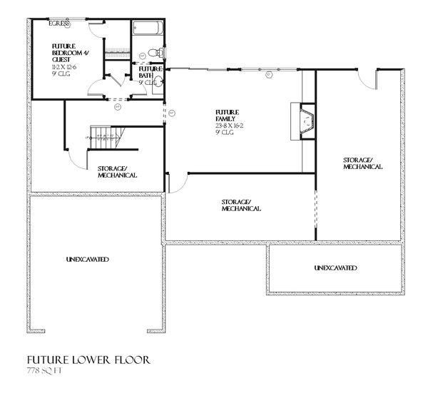 Craftsman Floor Plan - Lower Floor Plan Plan #901-45