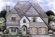European Style House Plan - 4 Beds 3.5 Baths 3539 Sq/Ft Plan #141-351 Exterior - Front Elevation