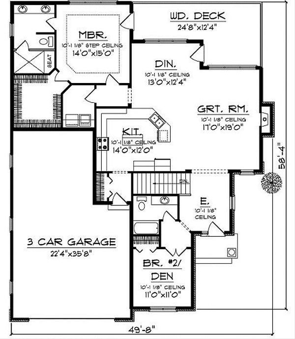 European Floor Plan - Main Floor Plan Plan #70-859