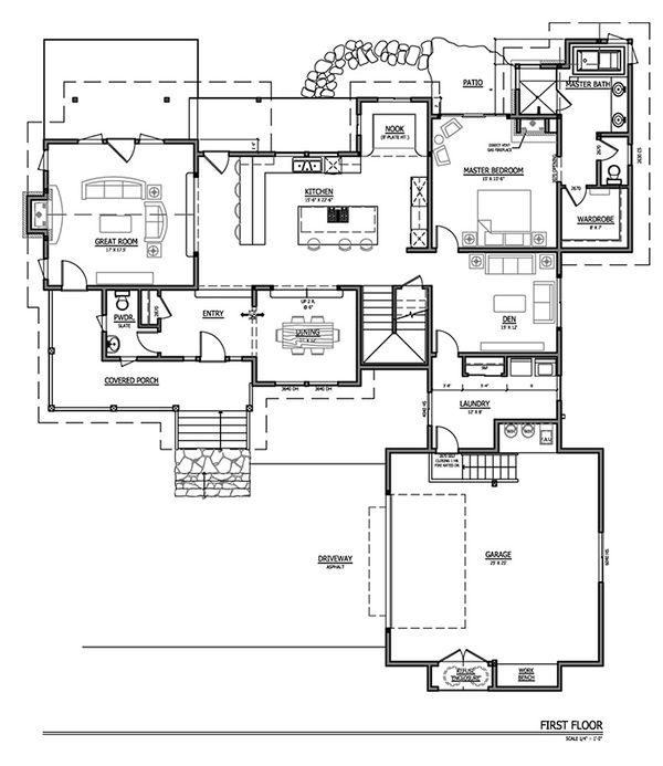 Craftsman Floor Plan - Main Floor Plan Plan #899-2