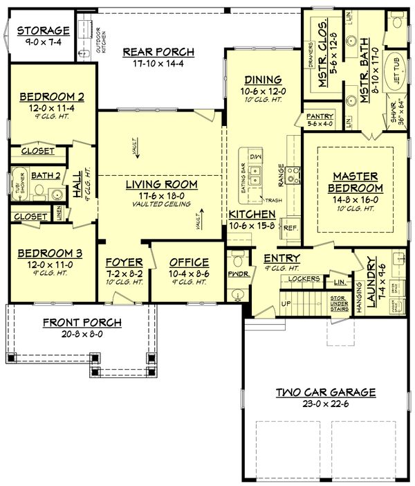 Craftsman Floor Plan - Main Floor Plan Plan #430-140
