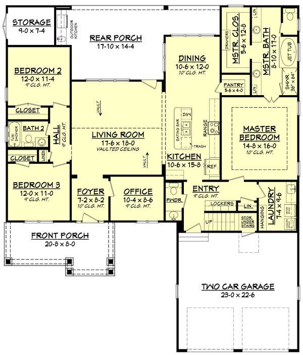 House Design - Craftsman Floor Plan - Main Floor Plan #430-140