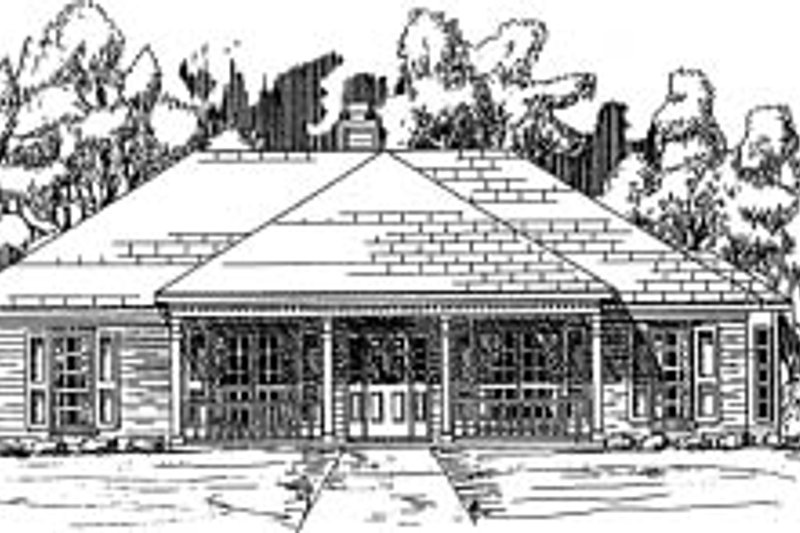 Traditional Style House Plan - 3 Beds 2 Baths 1866 Sq/Ft Plan #37-158 Exterior - Front Elevation