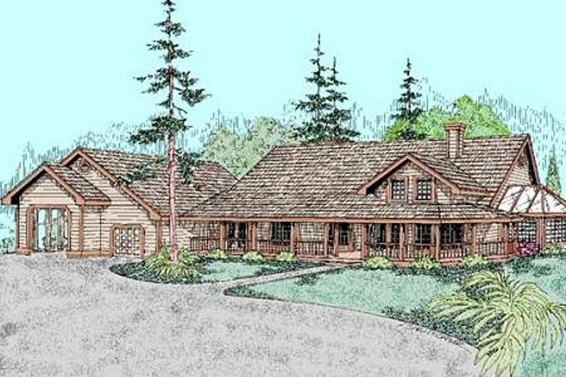 Country Style House Plan - 2 Beds 2 Baths 2171 Sq/Ft Plan #60-402 Exterior - Front Elevation