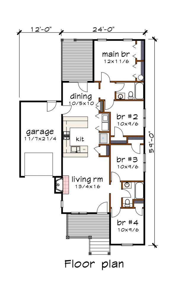 Bungalow Floor Plan - Main Floor Plan #79-310