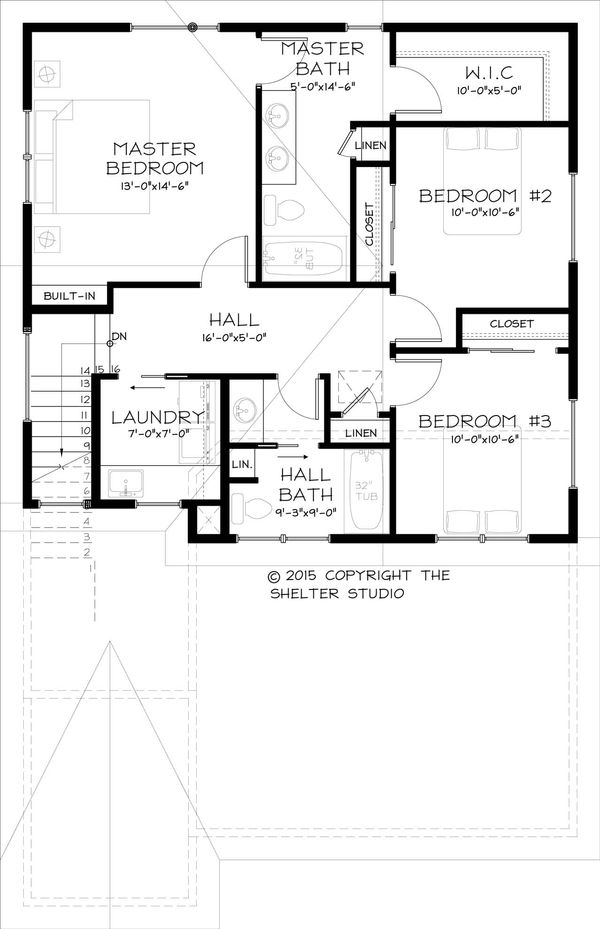Traditional Floor Plan - Upper Floor Plan Plan #895-42