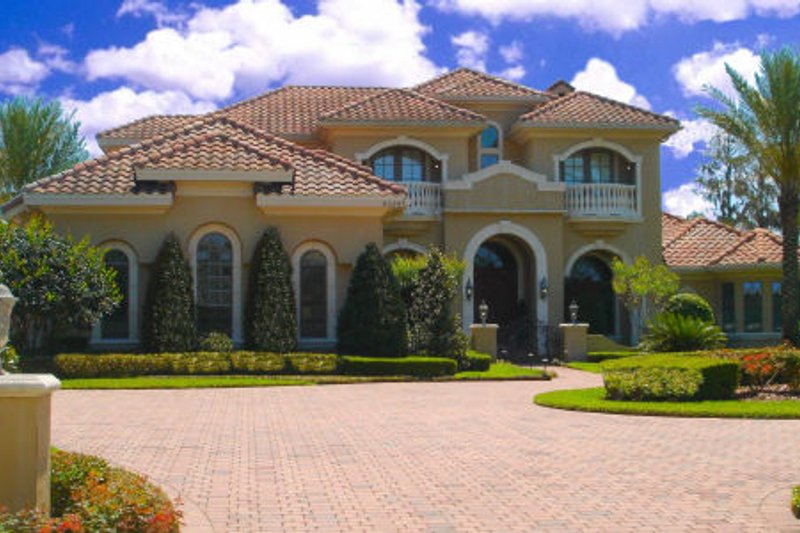 European Style House Plan - 6 Beds 6.5 Baths 7264 Sq/Ft Plan #135-195 Exterior - Front Elevation