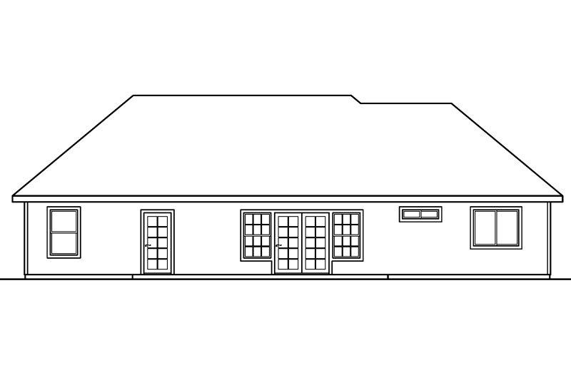 Ranch Exterior - Rear Elevation Plan #124-580 - Houseplans.com