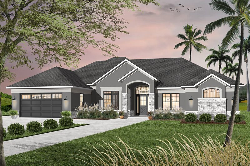 Mediterranean Style House Plan - 4 Beds 3.5 Baths 2842 Sq/Ft Plan #23-2220 Exterior - Front Elevation