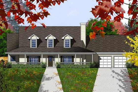 Country Exterior - Front Elevation Plan #40-408