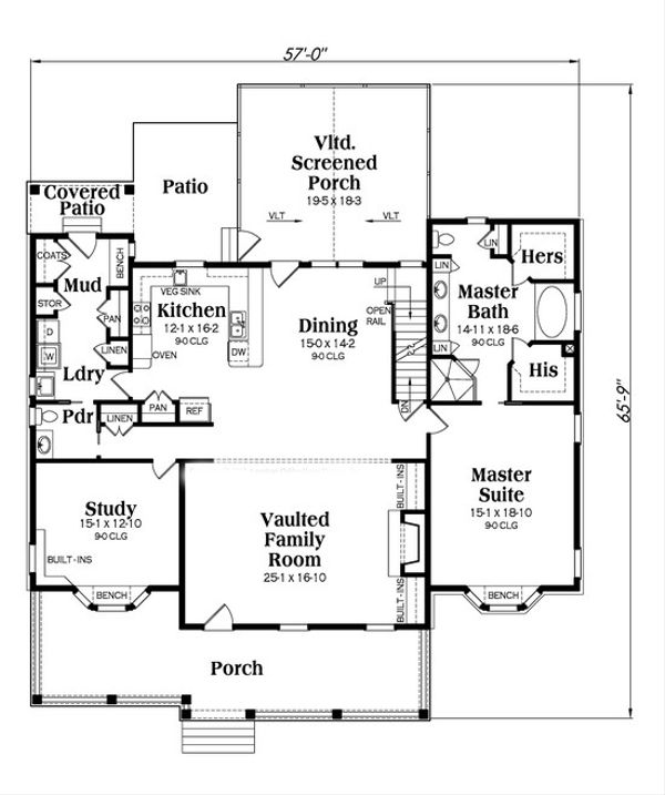 Country Floor Plan - Main Floor Plan Plan #419-245