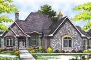European Style House Plan - 2 Beds 2 Baths 2245 Sq/Ft Plan #70-540 Exterior - Front Elevation