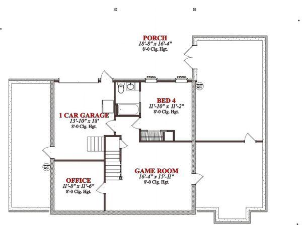 Colonial Floor Plan - Lower Floor Plan Plan #63-290
