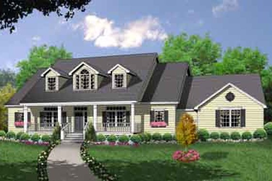 Country Exterior - Front Elevation Plan #40-330
