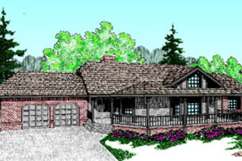 Cabin Exterior - Front Elevation Plan #60-193
