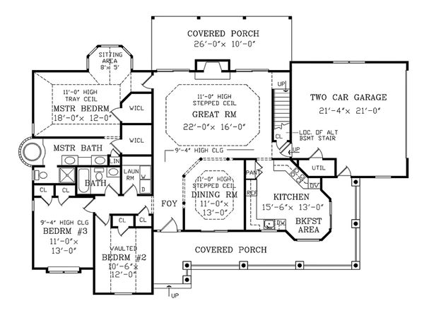 Farmhouse Floor Plan - Main Floor Plan Plan #456-6