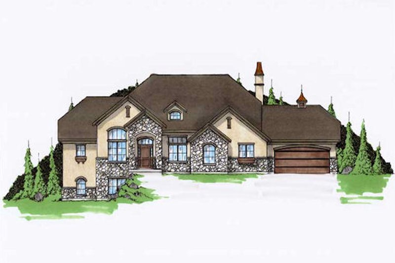 House Plan Design - European Exterior - Front Elevation Plan #5-389